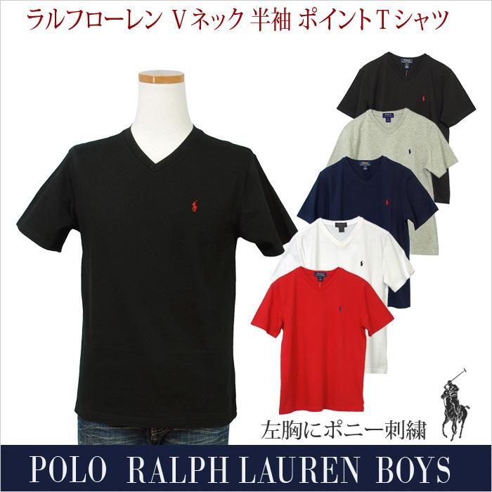 ラルフローレン Vネック ワンポイント 半袖Tシャツ ホワイト ブラック ネイビー グレー