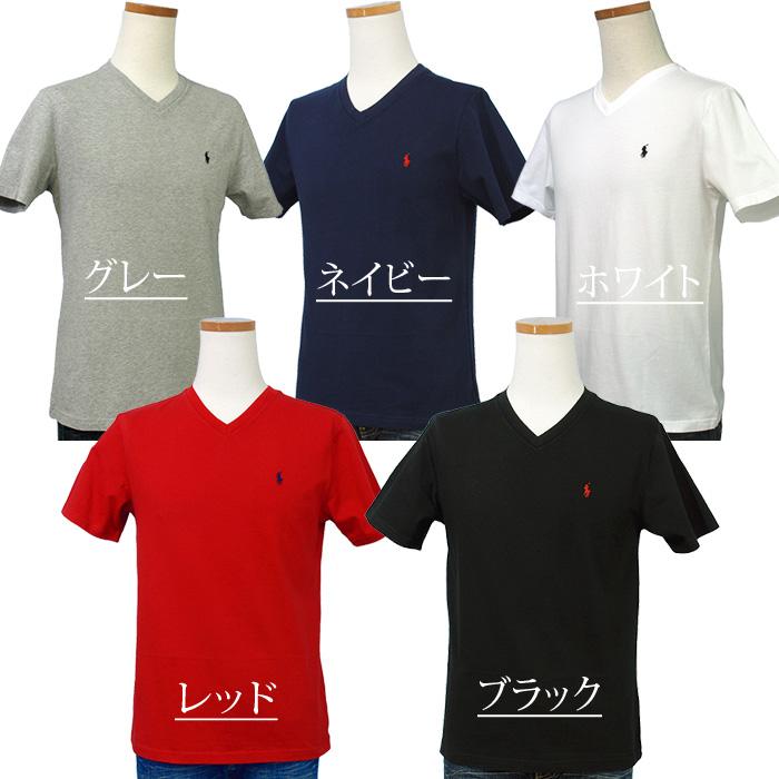 ラルフローレン Vネック ワンポイント半袖Tシャツ ホワイト ブラック ネイビー