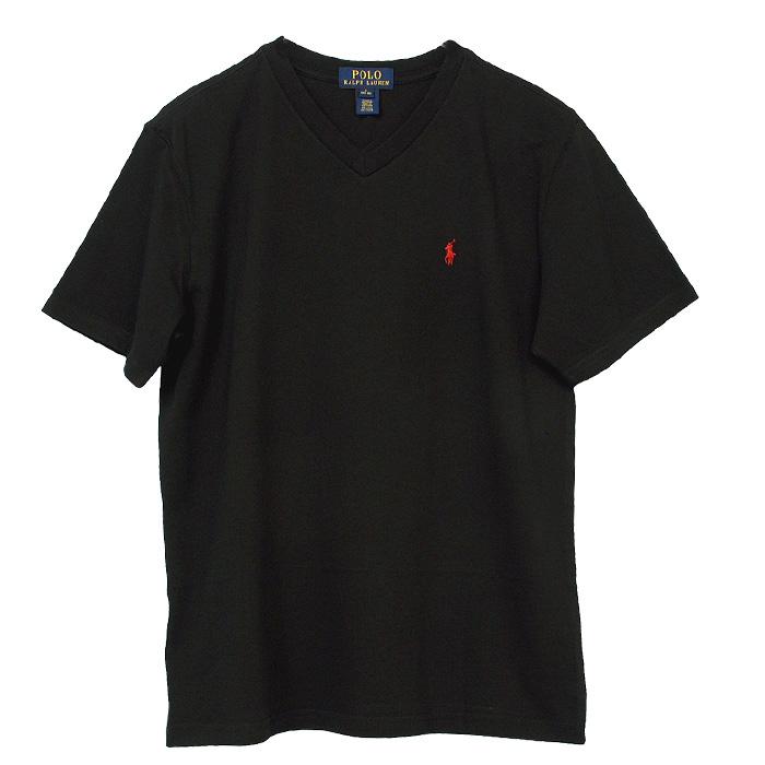 ラルフローレン Vネック ワンポイント半袖Tシャツ ブラック