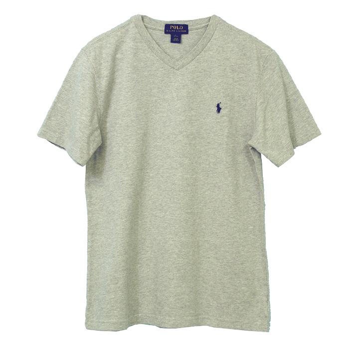 ラルフローレン Vネック ワンポイント半袖Tシャツ グレー