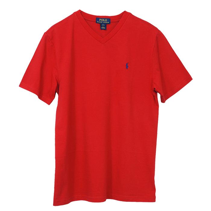 ラルフローレン Vネック ワンポイント半袖Tシャツ レッド