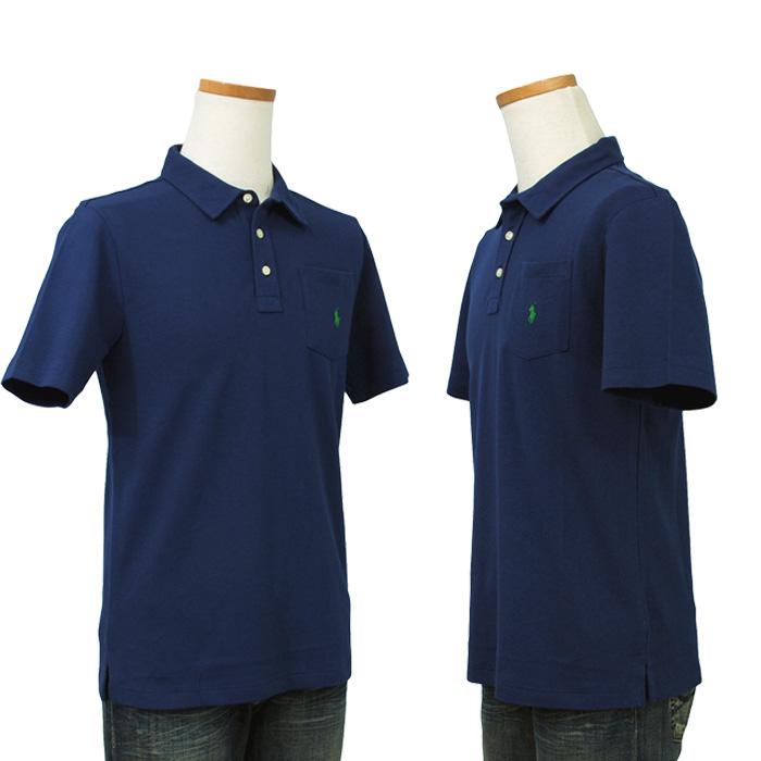 ラルフローレン ポケット付 半袖 鹿の子 ポロシャツ ネイビー