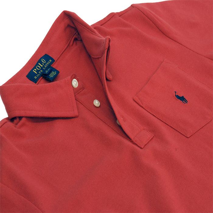 ラルフローレン ポケット付 半袖 鹿の子 ポロシャツ 赤