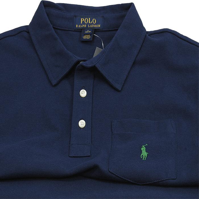 ラルフローレン ポケット付 半袖 鹿の子 ポロシャツ 紺