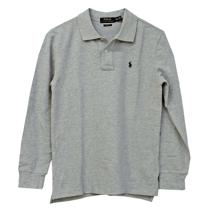 ラルフローレン 長袖 鹿の子ポロシャツ グレー