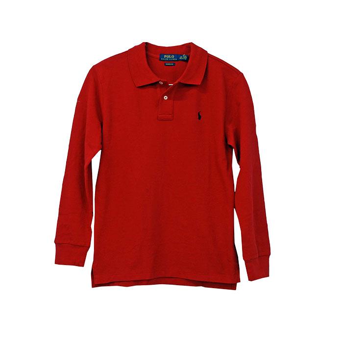 ラルフローレン 長袖 鹿の子ポロシャツ レッド