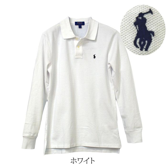 ラルフローレン 長袖 鹿の子ポロシャツ ホワイト