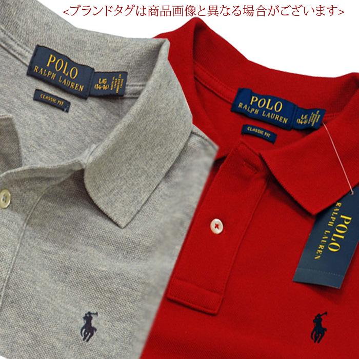 ラルフローレン 長袖 鹿の子ポロシャツ レッド グレー