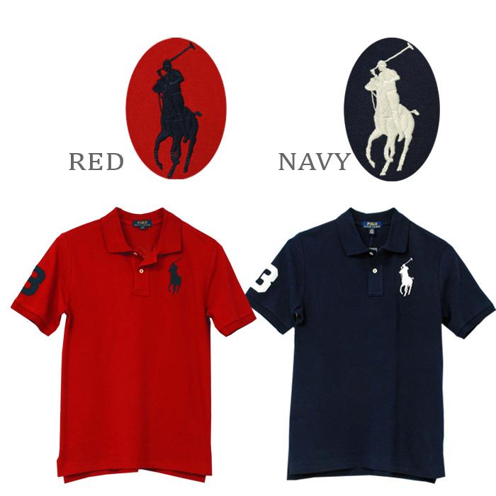 ラルフローレン POLO ビッグポニー半袖ポロシャツ、ネイビー、レッド