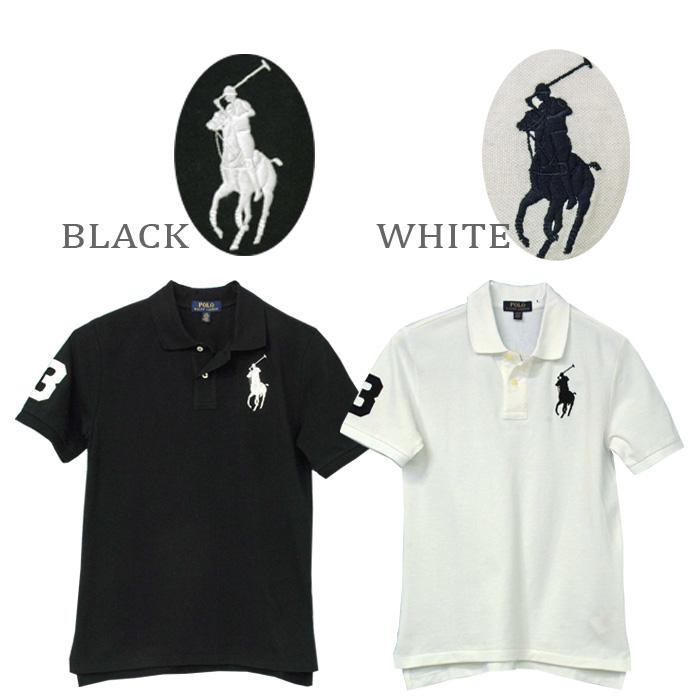 ラルフローレン POLO ビッグポニー半袖ポロシャツ、ブラック、ホワイト
