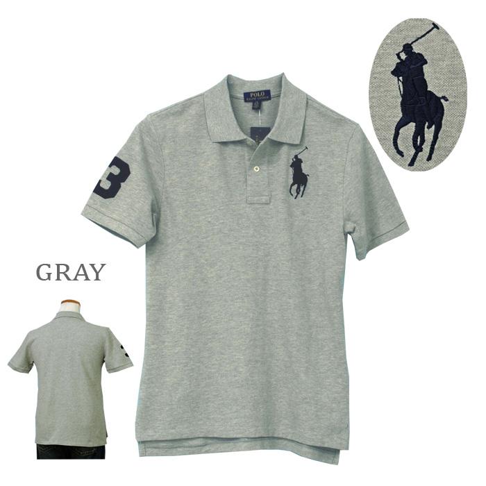 ラルフローレン POLO ビッグポニー半袖ポロシャツ、グレー