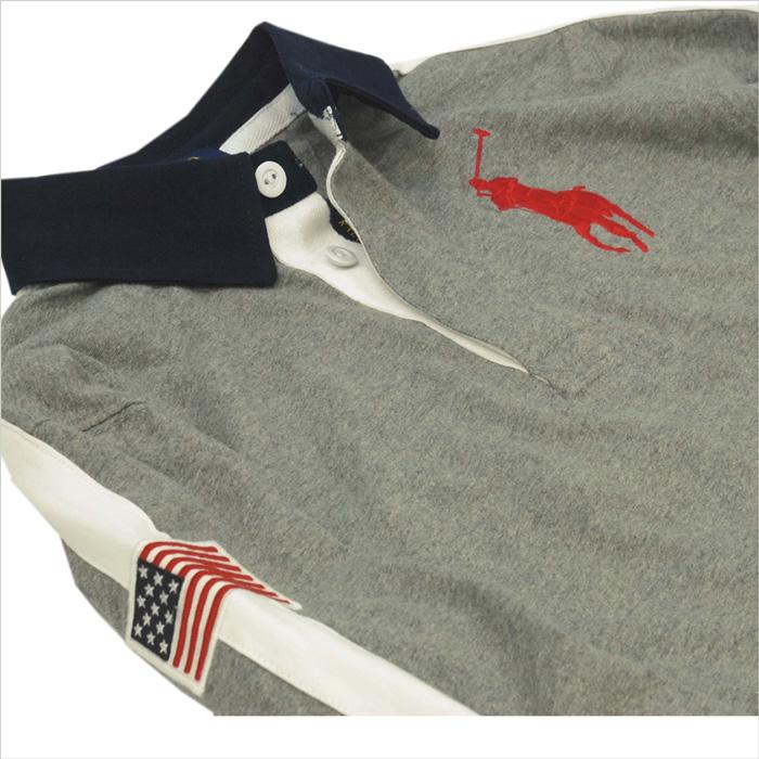 ラルフローレン ビッグポニー長袖ラガーシャツ グレー 右袖にUSAのフラッグのアップリケ