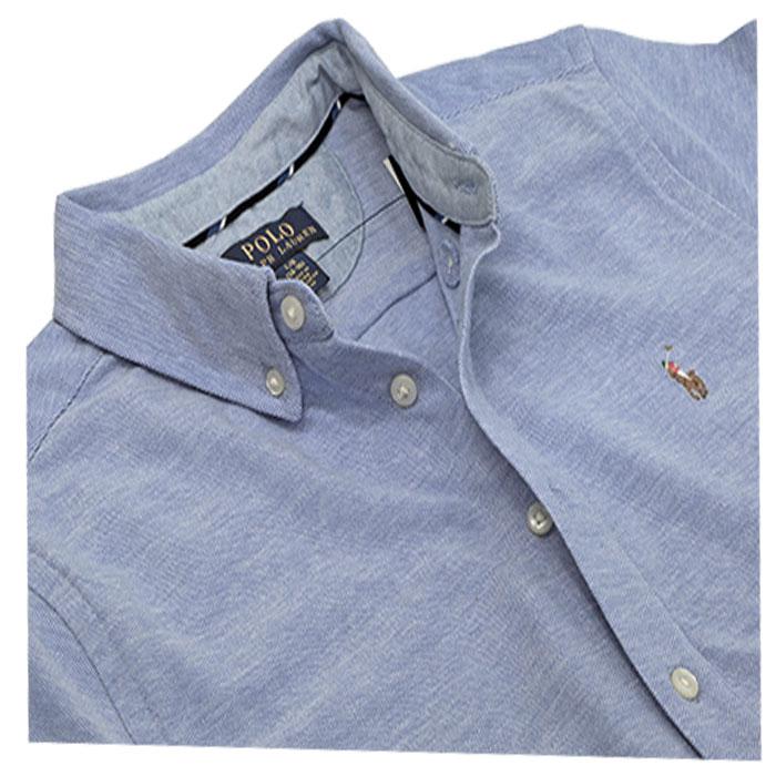 ラルフローレン 鹿の子素材半袖オックスフォードシャツ ブルー