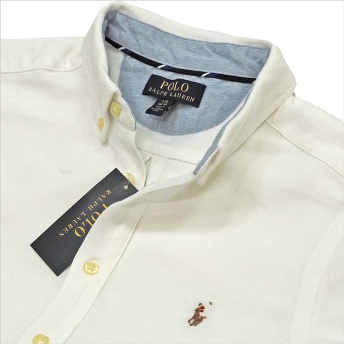 ラルフローレン 鹿の子素材半袖オックスフォードシャツホワイト