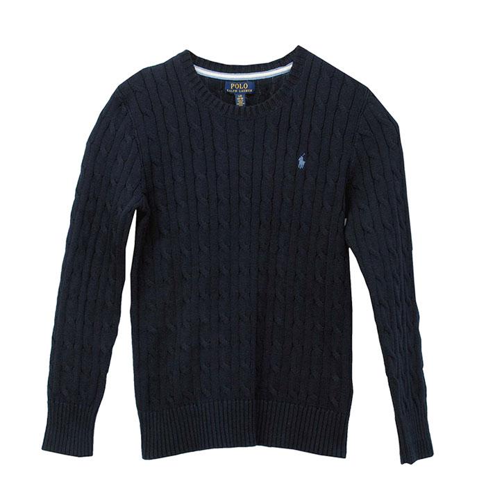 ラルフローレン コットン ケーブルセーター ネイビーブルー刺繍