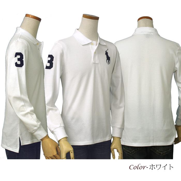 ラルフローレン コットン ビッグポニー 長袖 鹿の子ポロシャツ ホワイト