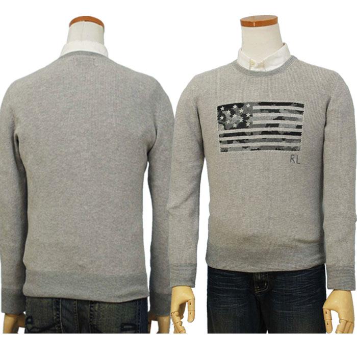 ラルフローレン USA(カモフラ風)フラッグセーター グレー