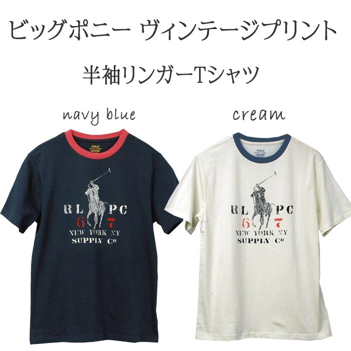 ラルフローレン ビッグポニービンテージプリント半袖リンガーTシャツ