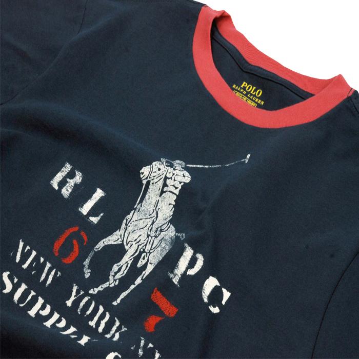 ラルフローレン ビッグポニービンテージプリント半袖リンガーTシャツ ネイビー