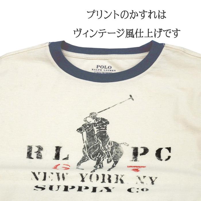 ラルフローレン ビッグポニービンテージプリント半袖リンガーTシャツ ホワイトビンテージ風のプリントです