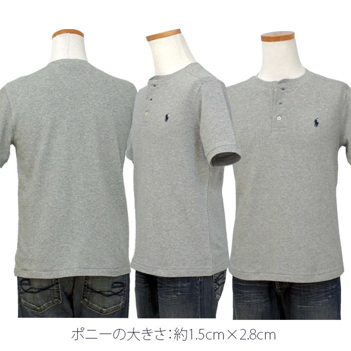 ラルフローレン コットン ヘンリーネック半袖Tシャツポニー刺繍の大きさ