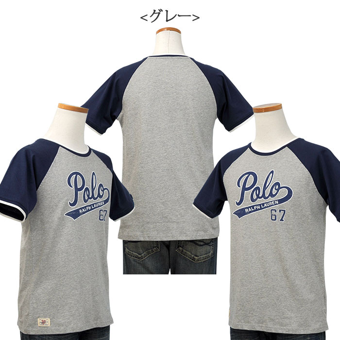 POLOロゴプリント半袖ベースボールTシャツ グレー
