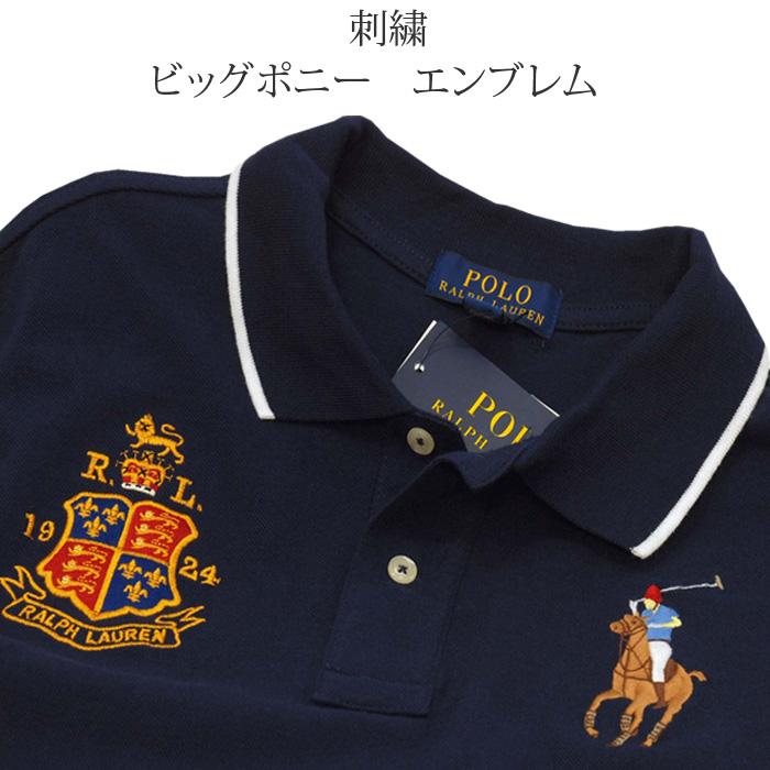 ラルフローレン ビッグポニー エンブレム刺繍半袖鹿の子ポロシャツ ネイビー