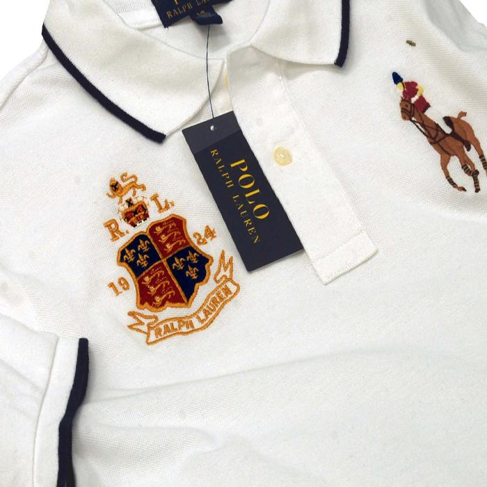 ラルフローレン コットン ビッグポニー エンブレム刺繍半袖鹿の子ポロシャツホワイト