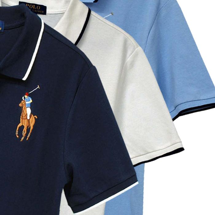ラルフローレン コットン ビッグポニー エンブレム刺繍半袖鹿の子ポロシャツ