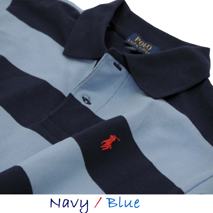 ラルフローレン コットン 半袖ボーダーポロシャツ ネイビー/ブルー
