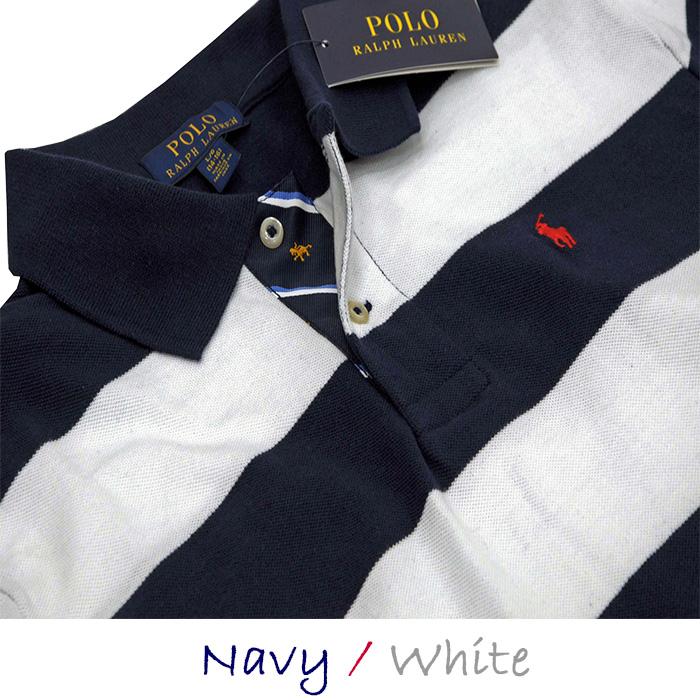 ラルフローレン コットン 半袖ボーダーポロシャツ ホワイト/ネイビー
