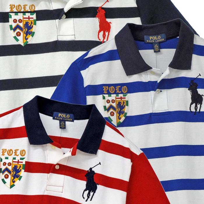ラルフローレン ビッグポニー エンブレム刺繍 半袖ボーダー鹿の子ポロシャツ