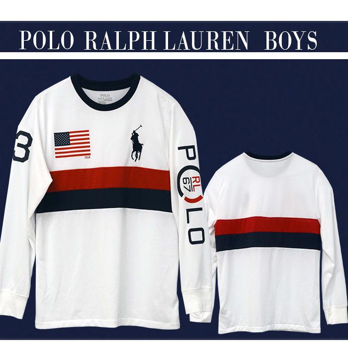 ラルフローレン ビッグポニーUSフラッグ 長袖Tシャツ ホワイトにネスビーとレッドのボーダー