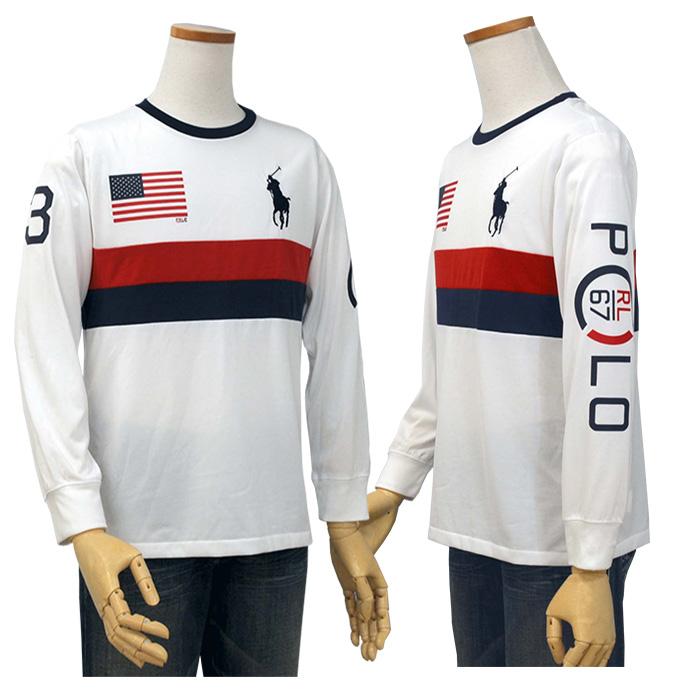 ラルフローレン ビッグポニーUSフラッグ 長袖Tシャツ 右袖にPOLO Rl 67 のプリント