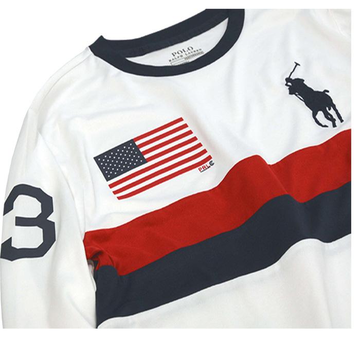 ラルフローレン ビッグポニーUSフラッグ 長袖Tシャツ ホワイト 右袖に3のプリント