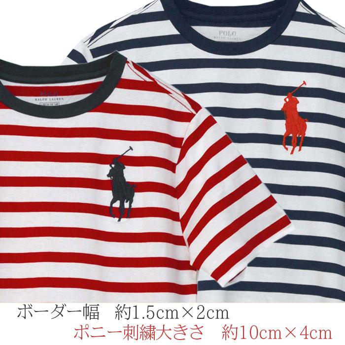 ラルフローレン ビッグポニー ボーダー半袖Tシャツ 刺繍の大きさ