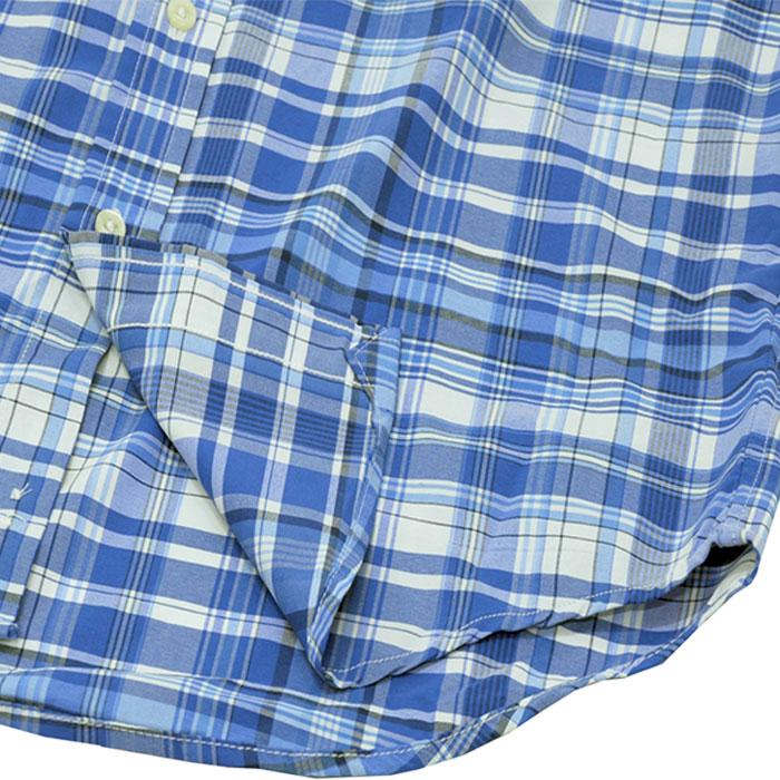 ラルフローレン 半袖マルチチェックシャツ ポケット付 裾部分
