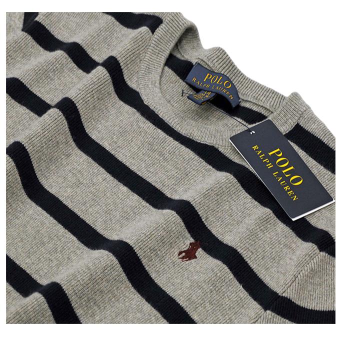ラルフローレン ストライプド コットン セーター グレー/ネイビー