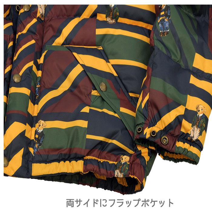 ラルフローレン ポロベアーフード付 ダウンジャケット 両サイドにボタン付きポケット
