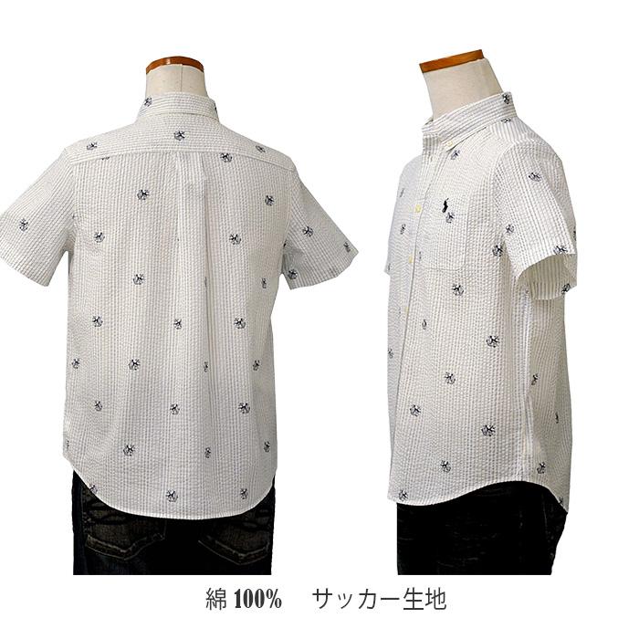 ラルフローレン サッカー生地 ポケット付き半袖シャツ ホワイト