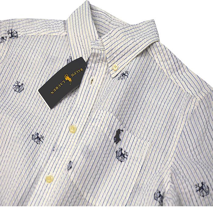 ラルフローレン サッカー生地 ポケット付き半袖シャツ パッチポケット