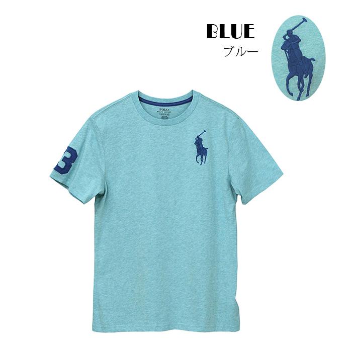 ラルフローレン ビッグポニー刺繍 半袖コットンTシャツ ブルー