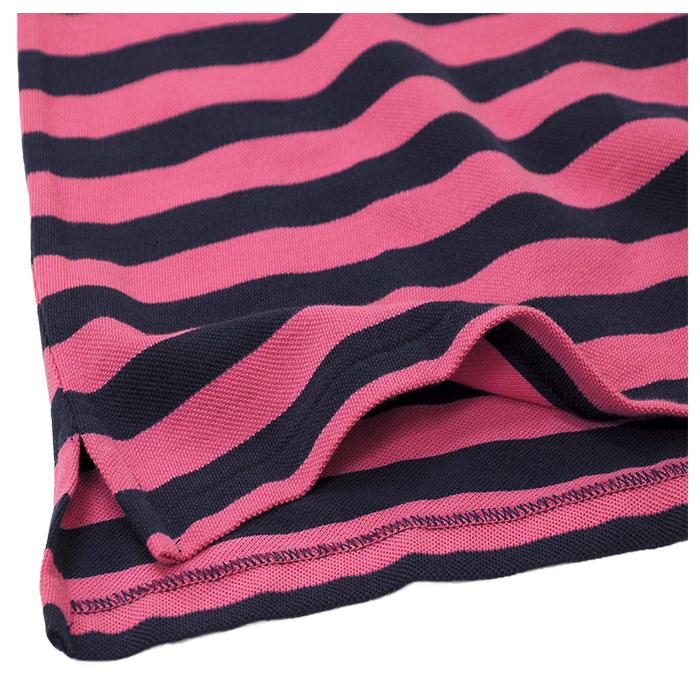 ラルフローレン 半袖ボーダー鹿の子ポロシャツピンクネイビー