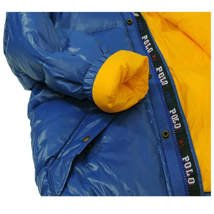 ラルフローレンフード付(着脱可) ダウンジャケット ブルー袖口