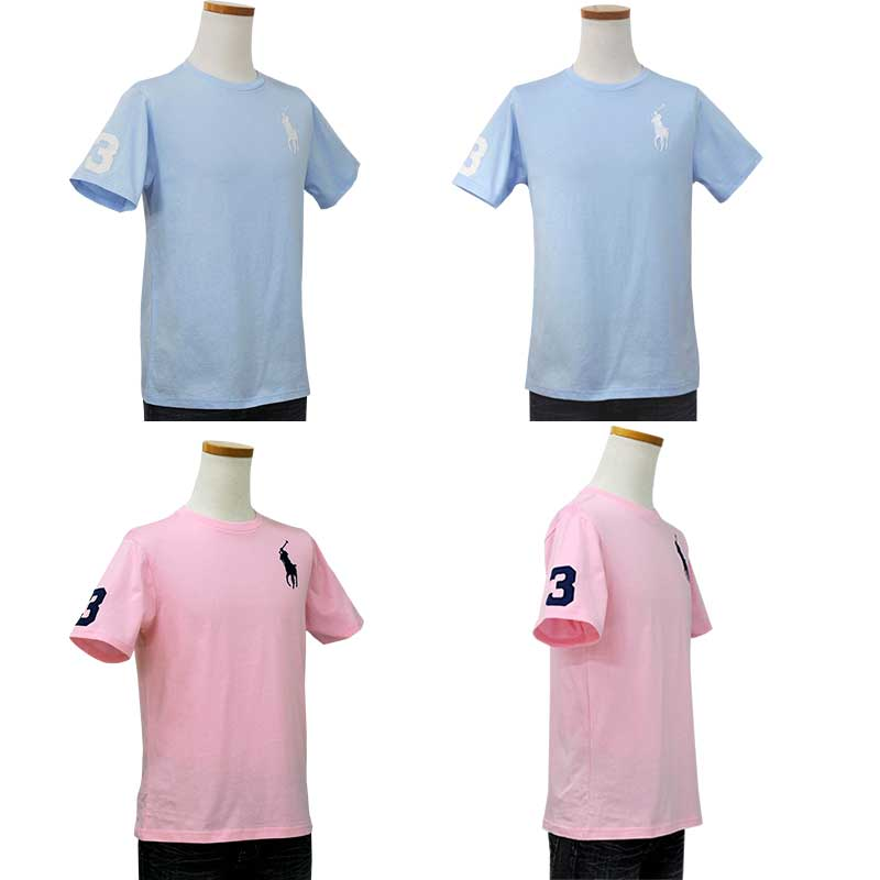 ラルフローレン ビッグポニー半袖Tシャツ ライトブルー カーメルピンク