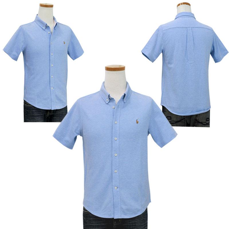 ラルフローレン 鹿の子素材半袖半袖ボタンダウンシャツ ブルー