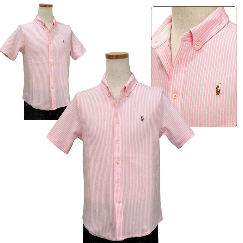 ラルフローレン 鹿の子素材半袖半袖ボタンダウンシャツ ピンク