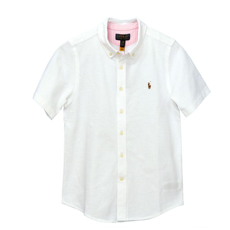 ラルフローレン 鹿の子素材半袖半袖ボタンダウンシャツホワイト