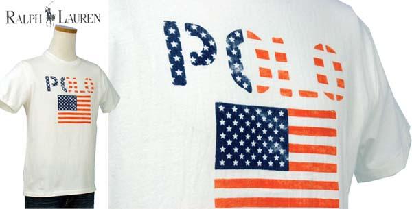 ラルフローレン POLOロゴ、USAフラッグ半袖 Tシャツ ホワイト