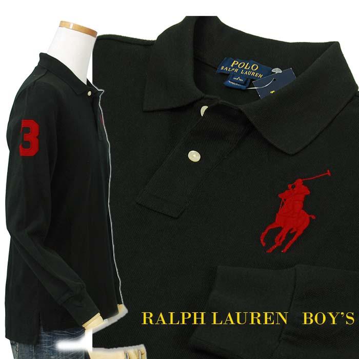 ラルフローレン ビッグポニー 長袖 鹿の子ポロシャツ ブラック